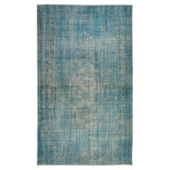 Distressed Living Room Carpet, Hand-Made Rug Over-Dyed in Light Blue