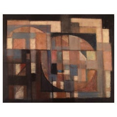 Svend Aage Larsen, Denmark, Oil on Canvas, Geometric Composition, Dated 1971