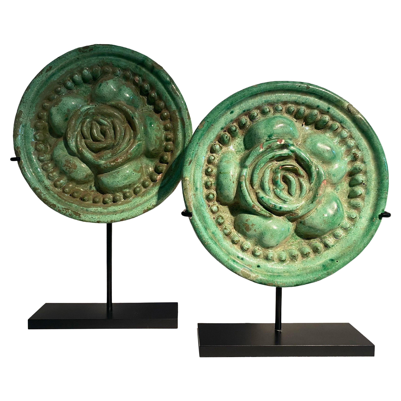 Pair of Italian Majolica Green Roundels