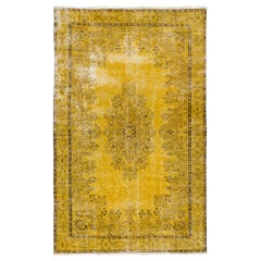 Distressed Vintage Hand-Made 1960s Turkish Area Rug Overdyed in Yellow