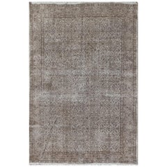 Handmade 1950s Turkish Rug Over-Dyed in Gray for Modern Interiors