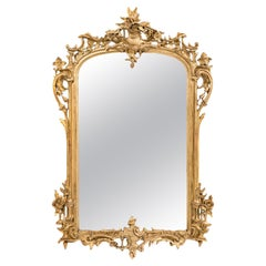 Antique 19th Century French Gold Leaf Gilt Chinoiserie Mirror with Weathered Gla