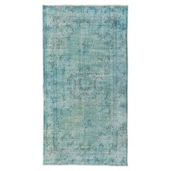One-of-a-Kind Art Deco Chinese Design Handmade Rug Redyed in Light Blue
