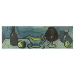 Eyvind Olesen, Denmark, Oil on Canvas, Modernist Still Life, 1967