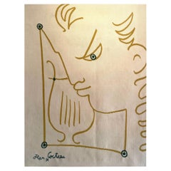 """Sublime Tapestry After Jean Cocteau """"Young Man with a Lyre"""""""
