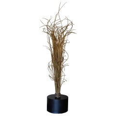 Natural Brass Wire Abstract Sculpture, Black Steel Base, Italy, 1970's Circa