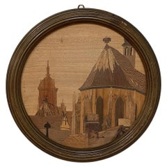 Antique Framed Inlaid Wood Cityscape, Signed