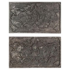 Antique Pair Of Chinese Carved Stone Garden Panels With Dragons