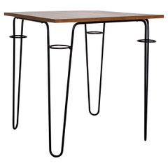 Raoul Guys Square Table in Lacquered Metal and Ash Wood Veneer, France 1950s