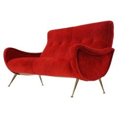 Red Upholstery Brass Legs Mid century Italian Modern Sofa Loveseat