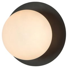 Houseof Charcoal Grey Opal Disk Wall Light with Metal and Glass Shade