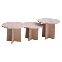 Oriental Pink Marble Nesting Table, Set of 3