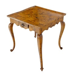 Antique Honey Amber Tone Solid Carved Burl Wood Square Game Dinette Table