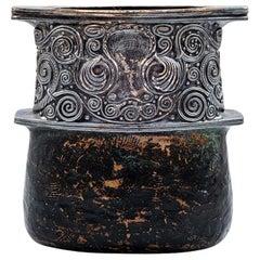 Austrian Jugendstil Bronze Vase Gustav Gurschner circa 1905 Silver Plated