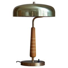 Swedish Modernist Designer, Table Lamp, Brass, Stained Oak, Wood Inlays, 1940s