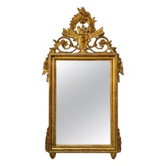 19th Century French Louis XVI Carved and Giltwood Mirror