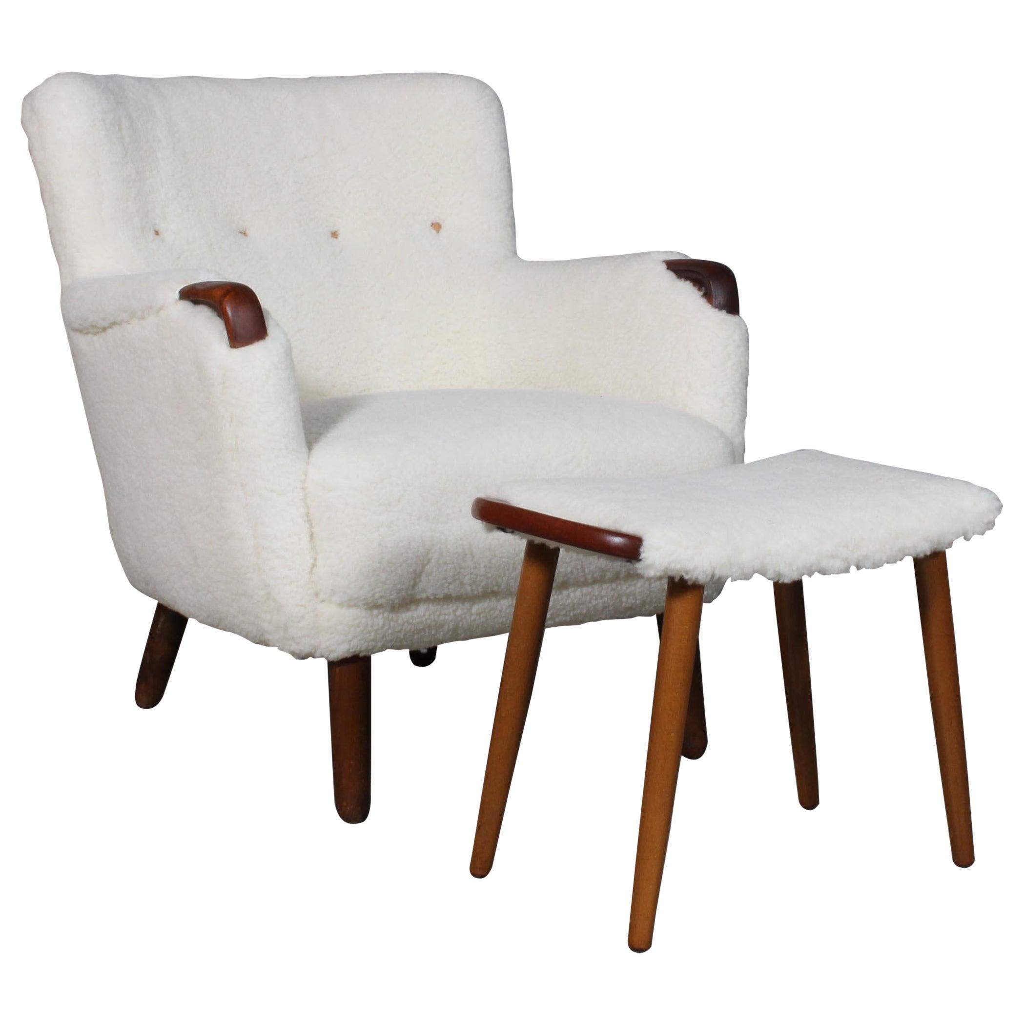 Danish Cabinetmaker, Lounge Chair and Ottoman Lambwool, 1940s