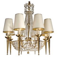 Crystal and Gilt Bronze Chandelier