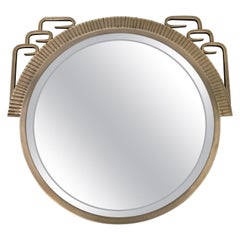 Round Art Deco Wall Mirror with Beveled Glass and Metal Frame
