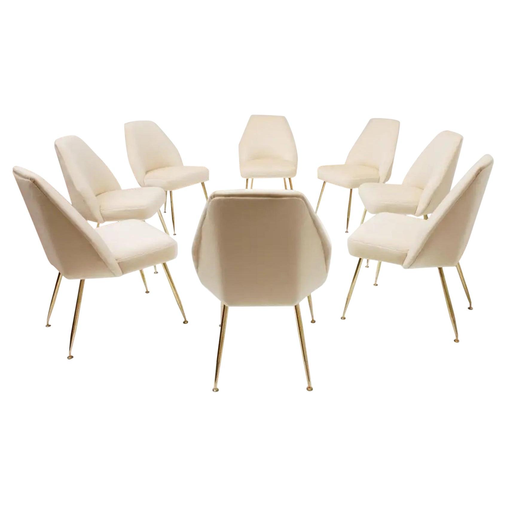 8 Brass Leg Chairs by Pagani,Partner of Gio Ponti & Lina Bo Bardi, 1952, Arflex