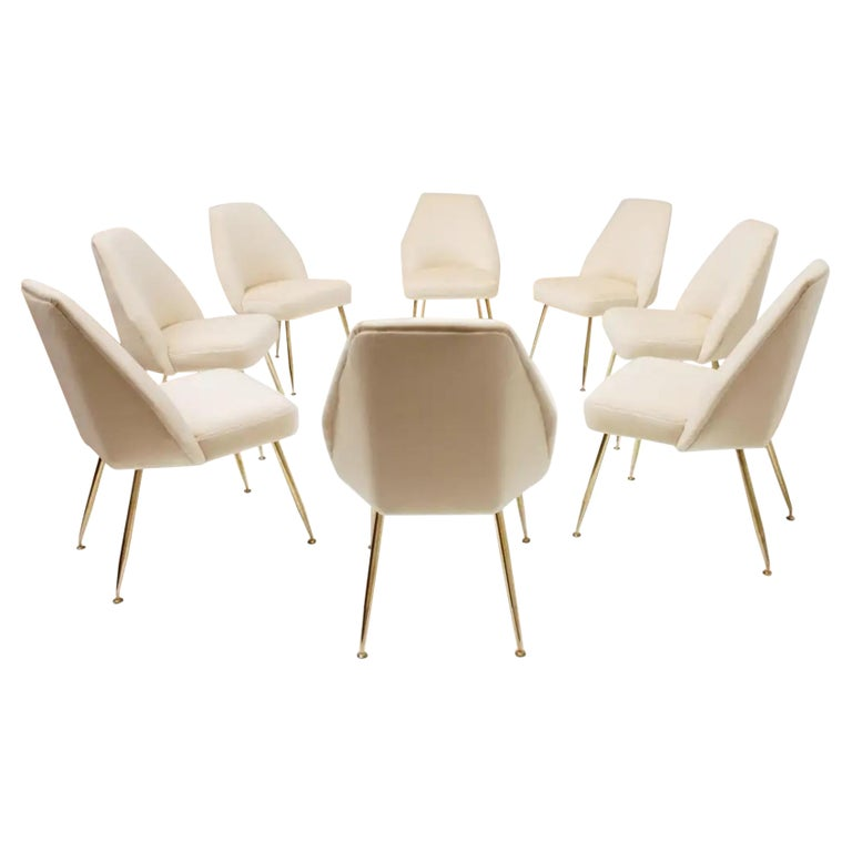 8 Brass Leg Chairs by Pagani,Partner of Gio Ponti & Lina Bo Bardi, 1952, Arflex For Sale
