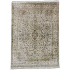 Vintage Persian Silk Qum Rug with French Cottage Style
