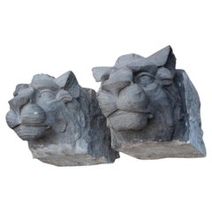 Pair of Hand Carved Stone Architectural Lion Heads