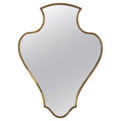 Unusual Brass Shield Mirror
