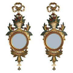 Pair of 1950s Decorative Italian Firenze Giltwood Convex Mirrored Wall Sconces