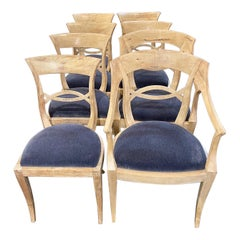 Set of 8 Italian Bleached Walnut Dining Chairs