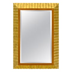 Large Scallop Edge Gold Gilt Frame Mirror by Baker