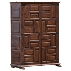 19th Catalan Spanish Baroque Carved Walnut Tuscan Two doors Wardrobe or Cabinet