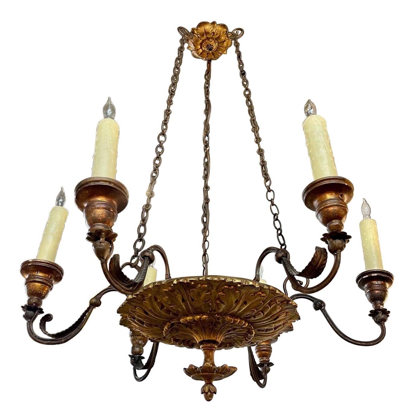 19th Century Italian Carved Giltwood 6 Light Chandelier