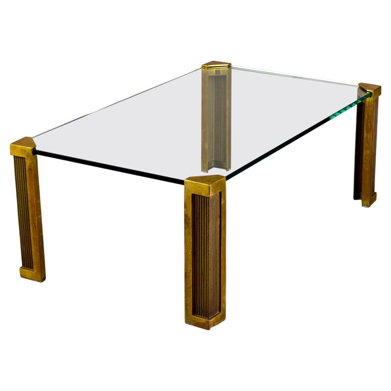 Mid Century Brass and Glass Coffee Table Designed by Peter Ghyczy For Sale