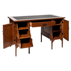Oak Wood, Iron and Leather Desk, Scotland, Early 20th Century