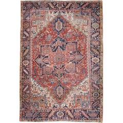 Early 20th Century Handmade Persian Heriz Room Size Carpet