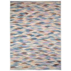 Swedish Inspired Contemporary Turkish Flat-Weave Kilim Large Oversize Carpet