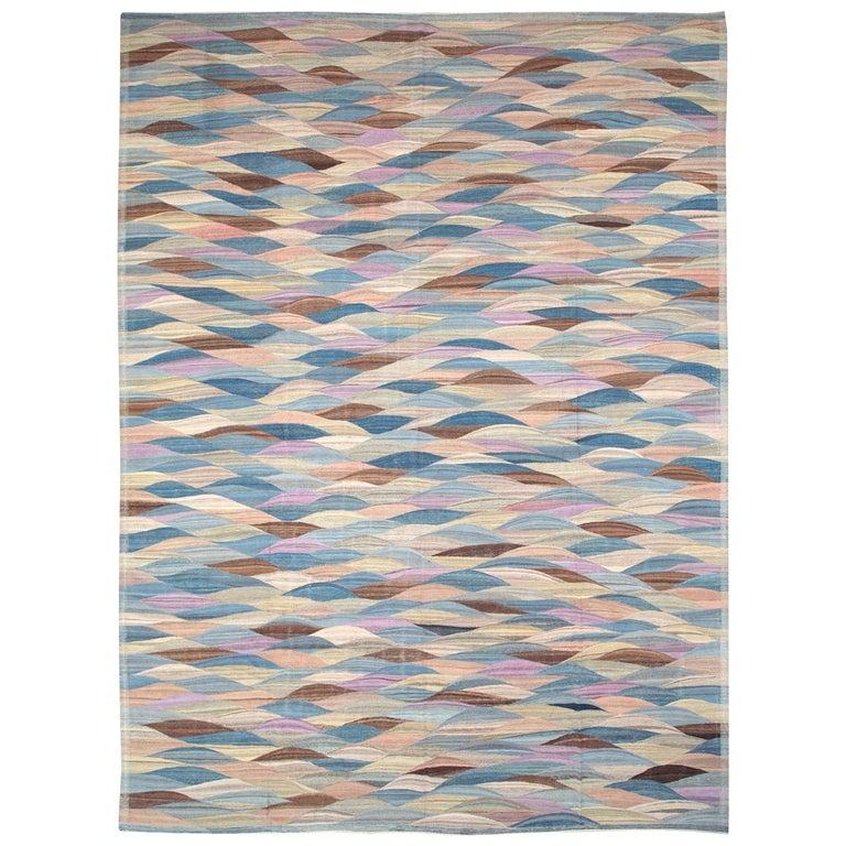 Swedish Inspired Contemporary Turkish Flat-Weave Kilim Large Oversize Carpet For Sale