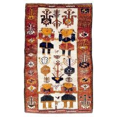 Mid-20th Century Handmade Persian Pictorial Bakhtiari Accent Rug