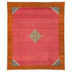 Early 20th Century Handmade Indian Flat-Weave Dhurrie Room Size Carpet