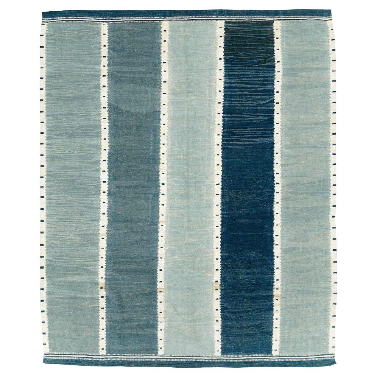 Swedish Inspired Contemporary Turkish Flat-Weave Kilim Small Room Size Carpet