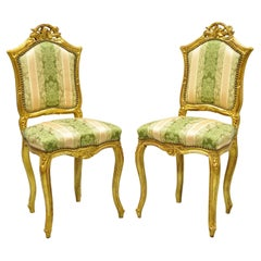 Vintage French Louis XV Style Gold Giltwood Carved Boudoir Side Chairs, a Pair
