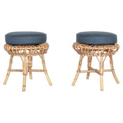 Pair of Rattan Stools in the Style of Franco Albini