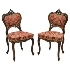 Antique Victorian French Carved Mahogany Parlor Accent Side Chairs, a Pair