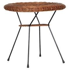 Italian Wicker and Iron Oval Table