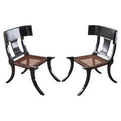 Pair of Ebonized Leather Rope Klismos Chairs After Robsjohn-Gibbings