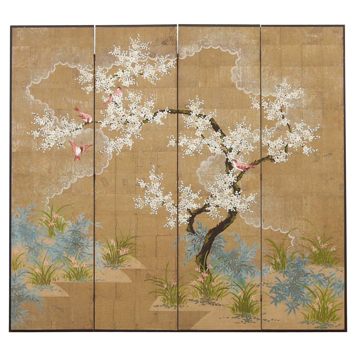 Robert Crowder Chinoiserie Four Panel Screen Flora and Fauna