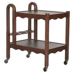 French Scalloped Oak Bar Cart