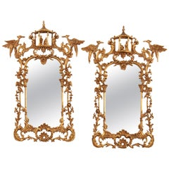 Pair of Chinese Chippendale Style Pagoda Mirrors with Ho Ho Birds