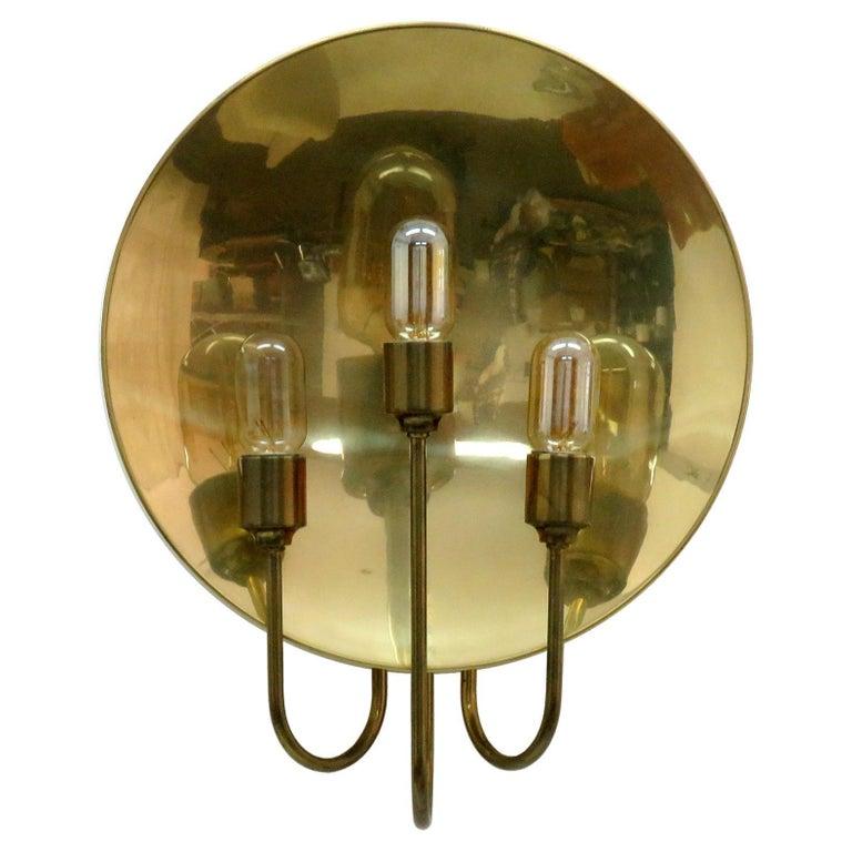 Florian Schulz 'W185' Brass Wall Light, 1960 For Sale